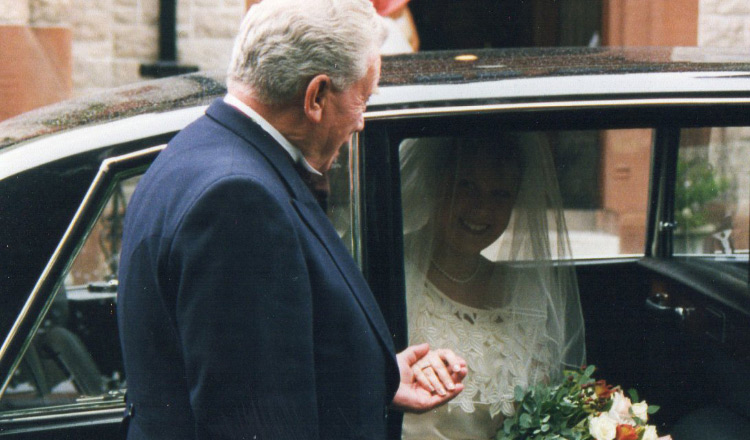 Ruth with her dad on her wedding day