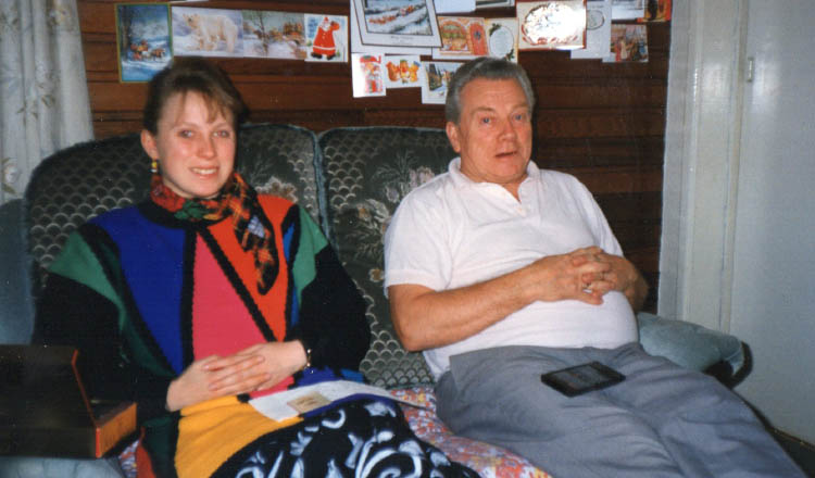 Ruth and her dad at Christmas 1996