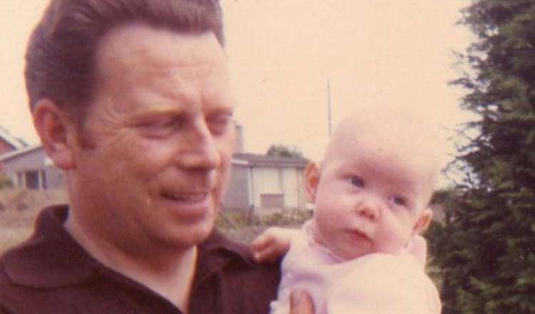 Ruth and her dad in spring 1972