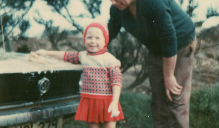 Ruth and her dad in 1977