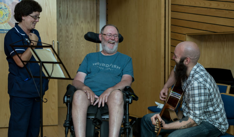 Alan and Ben composing together at Marie Curie Hospice, Bradford.