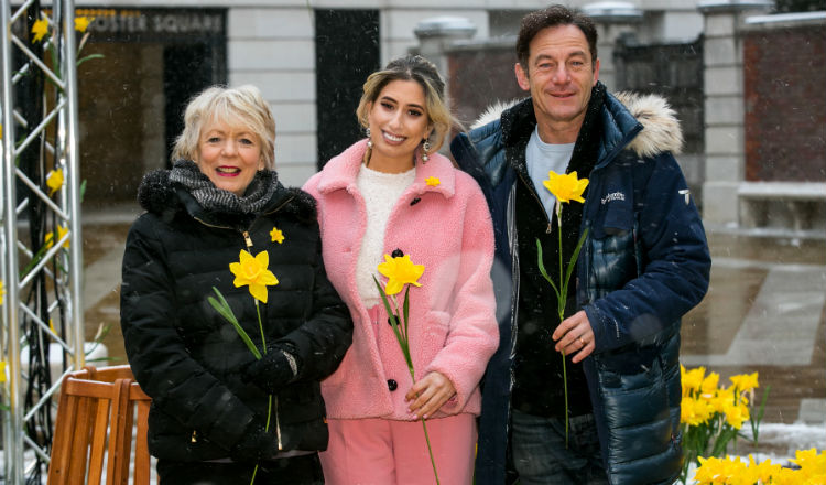 Celebrities Alison Steadman, Stacey Solomon and Jason Isaacs wearing daffodil pins