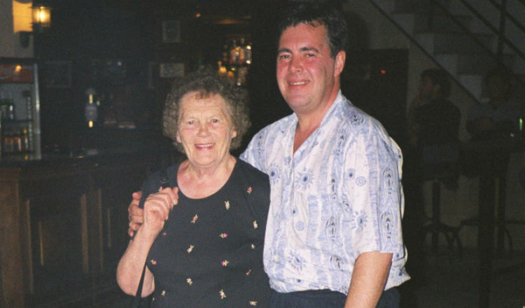 Peter Gilbert with his mum