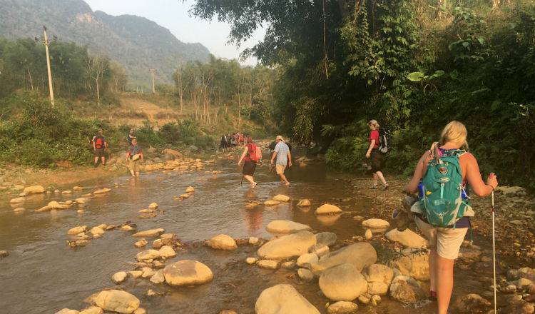 Vietnam trek river crossing