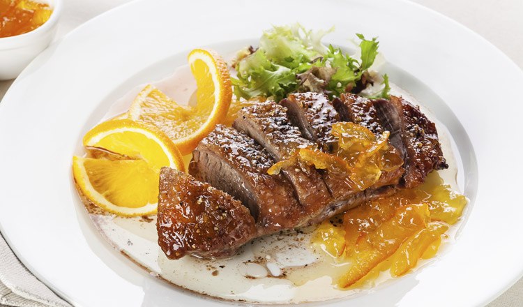 the classic duck à l orange is sweet and delicious