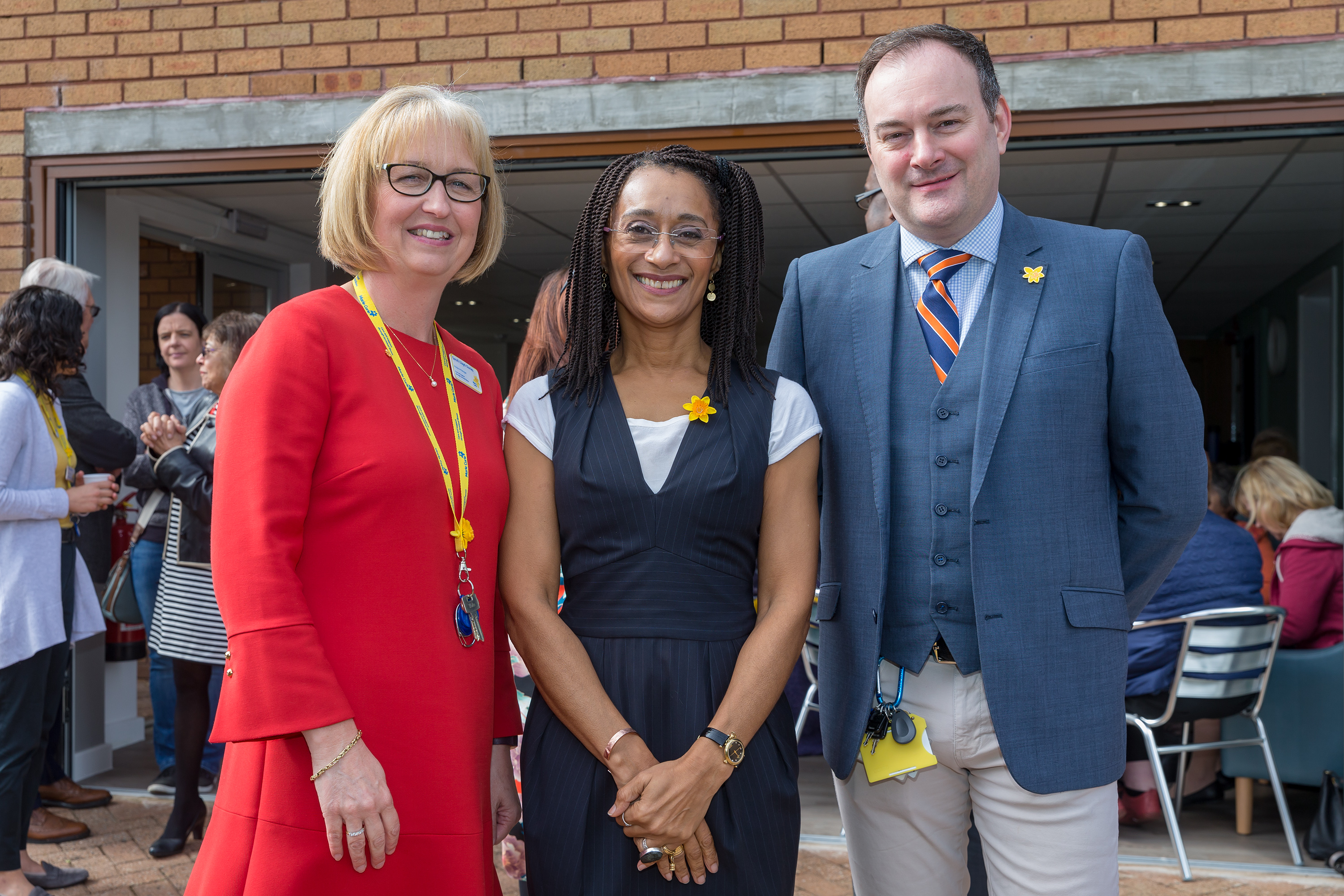 Hospice manager Sarah Lloyd-Davies with Keeping Faith actress Suzanne Packer and divisional general manager Andrew Wilson-Mouasher